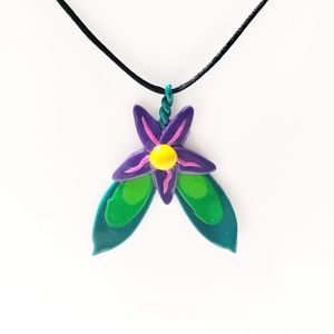 Magical Clay Flower Necklace on Black Cord